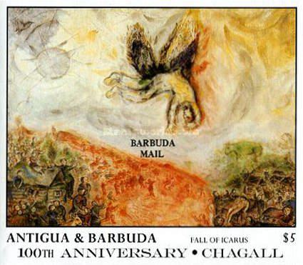[The 100th Anniversary of the Birth of Marc Chagall, Artist, 1887-1985- Issue of 1987 of Antigua & Barbuda Overprinted