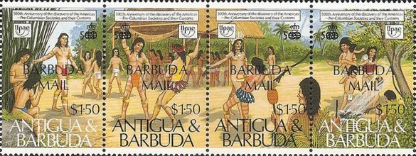 [The 500th Anniversary of Discovery of America by Columbus - Pre-Columbian Arawak Society - Issues of 1989 of Antigua & Barbuda Overprinted