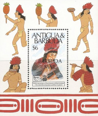[The 500th Anniversary of Discovery of America by Columbus - Pre-Columbian Arawak Society - Issue of 1989 of Antigua & Barbuda Overprinted