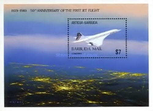[The 50th Anniversary of First Jet Flight - Issue of 1989 of Antigua & Barbuda Overprinted