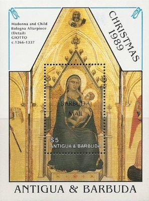 [Christmas - Paintings by Raphael and Giotto - Issue of 1989 of Antigua & Barbuda Overprinted