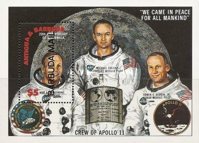 [The 20th Anniversary of First Manned Landing on Moon - Issue of 1989 of Antigua & Barbuda Overprinted