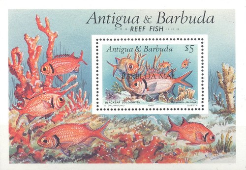 [Reef Fish - Issue of 1990 of Antigua & Barbuda Overprinted