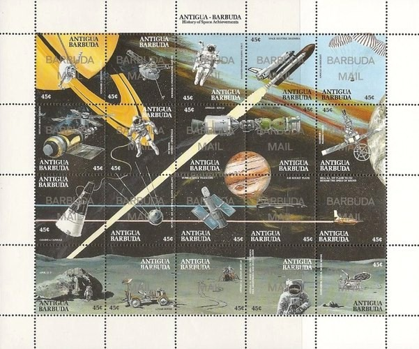 [Achievements in Space - Issues of 1990 of Antigua & Barbuda Overprinted