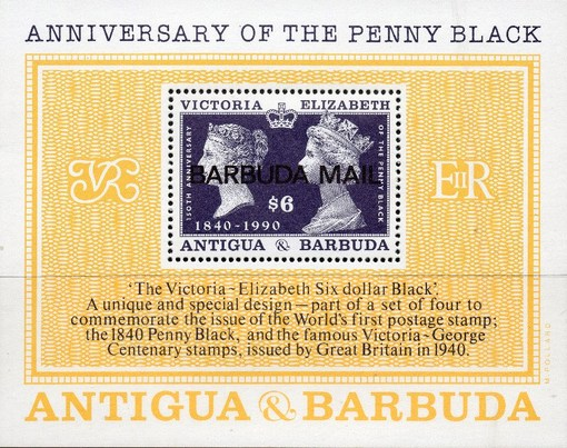 [The 150th Anniversary of the Penny Black - Issue of 1990 of Antigua & Barbuda Overprinted