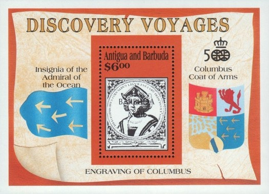 [The 500th Anniversary of Discovery of America by Columbus - Discovery Voyages - Issue of 1991 of Antigua & Barbuda Overprinted