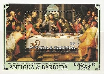 [Easter - Paintings - Issue of 1992 of Antigua & Barbuda Overprinted