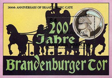 [The 200th Anniversary of Brandenburg Gate, Germany - Issue of 1991 of Antigua & Barbuda Overprinted
