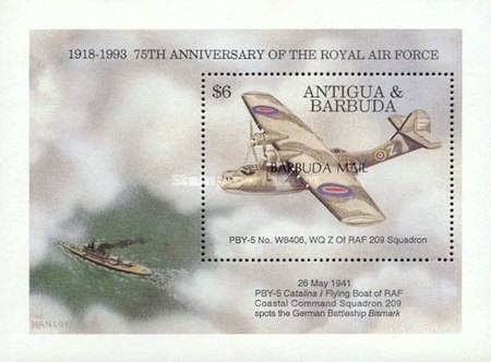 [The 75th Anniversary of Royal Air Force - Issue of 1993 of Antigua & Barbuda Overprinted