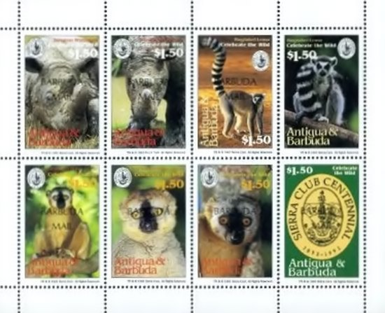 [The 100th Anniversary of Sierra Club - Endangered Species - Issues of 1994 of Antigua & Barbuda Overprinted