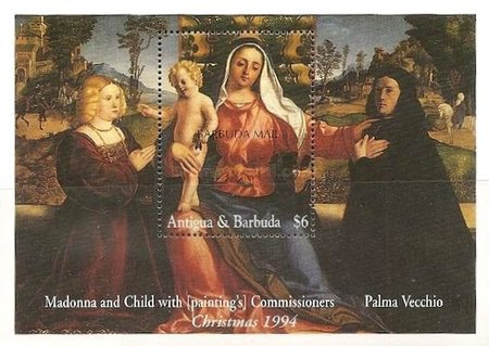 [Christmas - Madonna Illustrations on Paintings of the 15th and 16th Century - Issue of 1994 of Antigua & Barbuda Overprinted