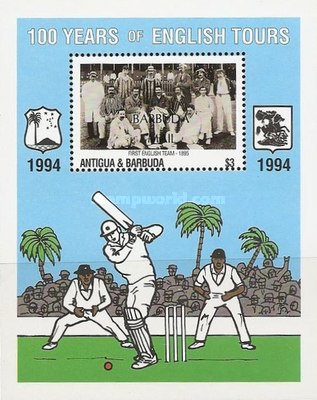 [The 100th Anniversary of First English Cricket Tour to the West Indies - Issue of 1994 of Antigua & Barbuda Overprinted