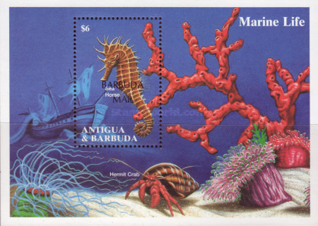 [Marine Life - Issue of 1994 of Antigua & Barbuda Overprinted