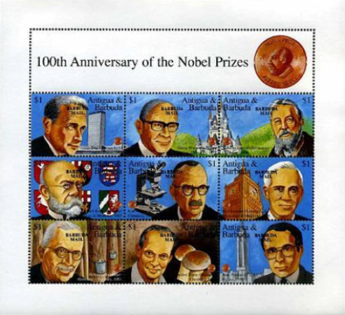 [The 100th Anniversary of Nobel Prize Trust Fund - Issues of 1995 of Antigua & Barbuda Overprinted