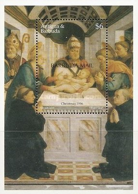 [Christmas - Paintings by Fra Filippo Lippo - Issue of 1996 of Antigua & Barbuda Overprinted