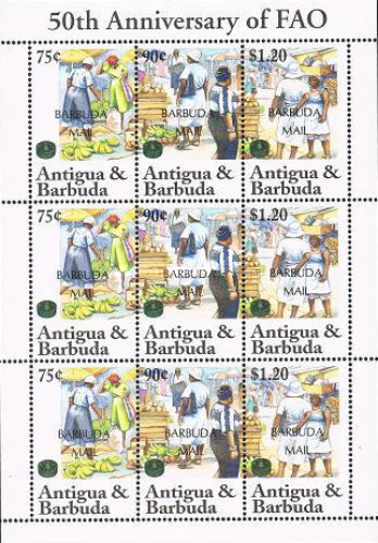 [The 50th Anniversary of F.A.O. - Issues of 1995 of Antigua & Barbuda Overprinted