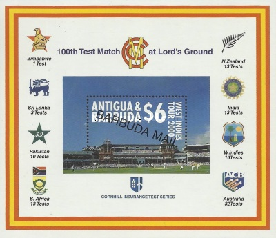 [Test Match at the Lord's Cricket Ground, London - Issue of 2000 of Antigua & Barbuda Overprinted