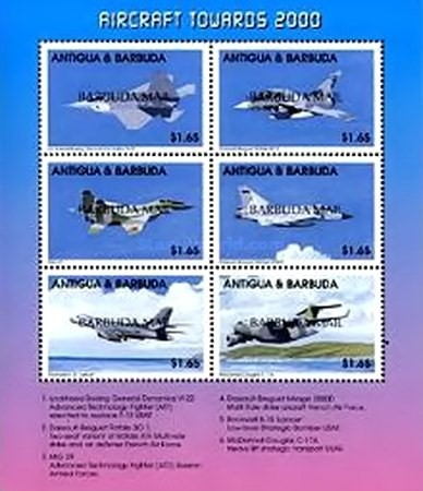 [Modern Combat Aircraft - Issues of 1998 of Antigua & Barbuda Overprinted