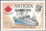 [Ships - Antigua Postage Stamps Overprinted