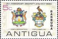 [The 25th Anniversary of the University of the West Indies - Antigua Postage Stamps Overprinted