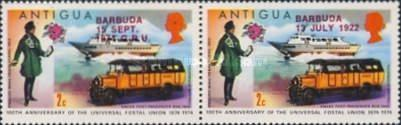 [The 100th Anniversary of the UPU - Antigua Postage Stamps Overprinted