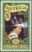 [The 25th Anniversary of the Coronation of Queen Elizabeth - Antigua Postage Stamps Overprinted in Silver or Gold, type FR]