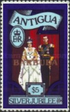[The 25th Anniversary of the Coronation of Queen Elizabeth - Antigua Postage Stamps Overprinted in Silver or Gold, type FR1]