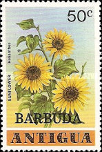 [Flowers - Antigua Postage Stamps Overprinted