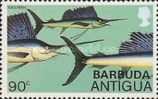 [Fish - Antigua Postage STamps Overprinted