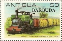 [Locomotives - Antigua Postage Stamps Overprinted