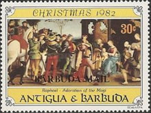 [Christmas - Antigua and Barbuda Postage Stamps Overprinted