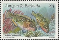 [Reef Fish - Issues of 1990 of Antigua & Barbuda Overprinted