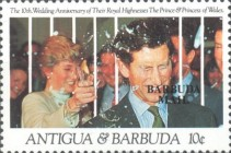 [The 10th Anniversary of the Wedding of the Prince and Princess of Wales - Issue of 1991 of Antigua & Barbuda Overprinted