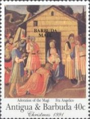 [Christmas - Religious Paintings by Fra Angelico - Issues of 1991 of Antigua & Barbuda Overprinted
