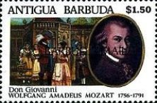 [The 200th Anniversary of the Death of Wolfgang Amadeus Mozart, Composer, 1756-1791  - Issues of 1991 of Antigua & Barbuda Overprinted