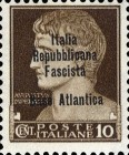 "[Italy Stamps Overprinted ""Italia Repubblicana Fascista Base Atlantica"" in 4 Lines, type A]"