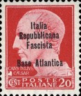 "[Italy Stamps Overprinted ""Italia Repubblicana Fascista Base Atlantica"" in 4 Lines, type A1]"