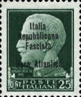 "[Italy Stamps Overprinted ""Italia Repubblicana Fascista Base Atlantica"" in 4 Lines, type A2]"