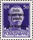 "[Italy Stamps Overprinted ""Italia Repubblicana Fascista Base Atlantica"" in 4 Lines, type A4]"