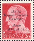 "[Italy Stamps Overprinted ""Italia Repubblicana Fascista Base Atlantica"" in 5 Lines, type B2]"