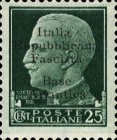 "[Italy Stamps Overprinted ""Italia Repubblicana Fascista Base Atlantica"" in 5 Lines, type B3]"