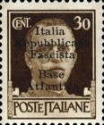 "[Italy Stamps Overprinted ""Italia Repubblicana Fascista Base Atlantica"" in 5 Lines, type B4]"
