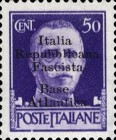 "[Italy Stamps Overprinted ""Italia Repubblicana Fascista Base Atlantica"" in 5 Lines, type B5]"