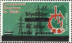 [Dahomey Postage Stamp of 1975 Overprinted and Surcharged, Typ I]