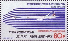 [Airmail - The 1st Commercial Concorde Flight - Paris-New York - Issue of 1977 Overprinted