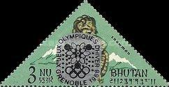 [Winter Olympic Games - Grenoble, France - Stamps of 1966 Overprinted, Double or Single Olympic Rings, Same Price, Typ CJ3]