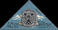[Winter Olympic Games - Grenoble, France - Stamps of 1966 Overprinted, Double or Single Olympic Rings, Same Price, Typ CK3]