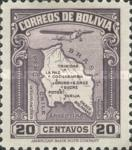 [Airmail - Map of Bolivia with Airplane, type BZ2]