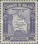 [Airmail - Map of Bolivia with Airplane, type BZ3]