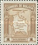[Airmail - Map of Bolivia with Airplane, type BZ5]